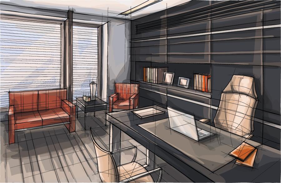 Nowoczesne biuro - ilustracja