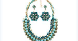Biżuteria w kolorze turkusowym - naszyjnik i kolczyki