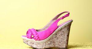 Różowe buty na koturnie