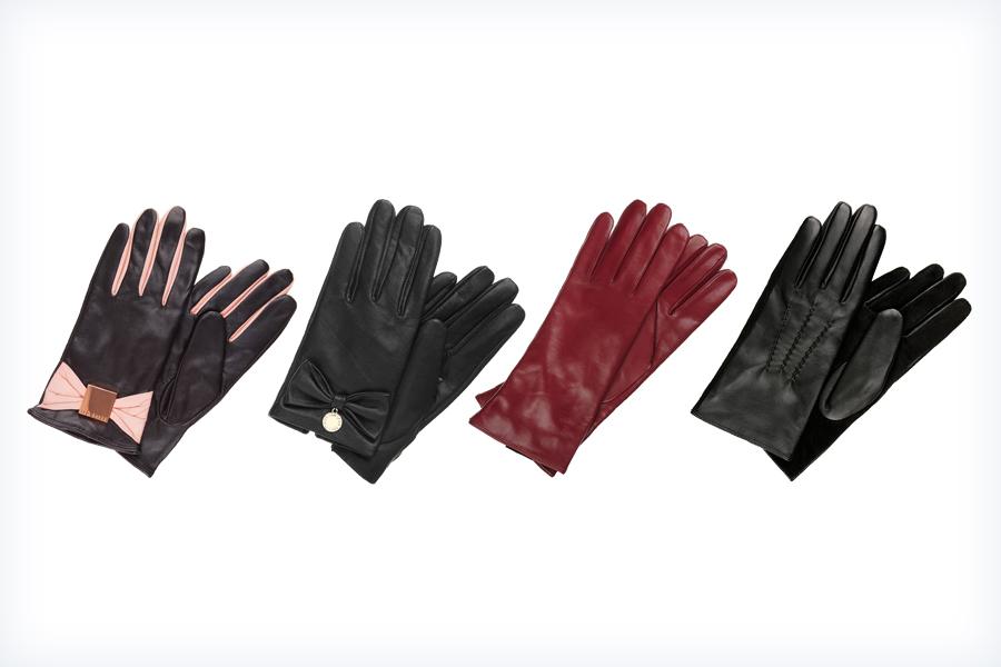 Cztery pary damskich skórzanych rękawiczek