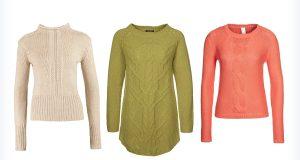 Trzy kolorowe, ciepłe swetry z warkoczami