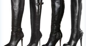 Długie, czarne buty na sylwestra