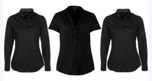 Trzy damskie czarne koszule