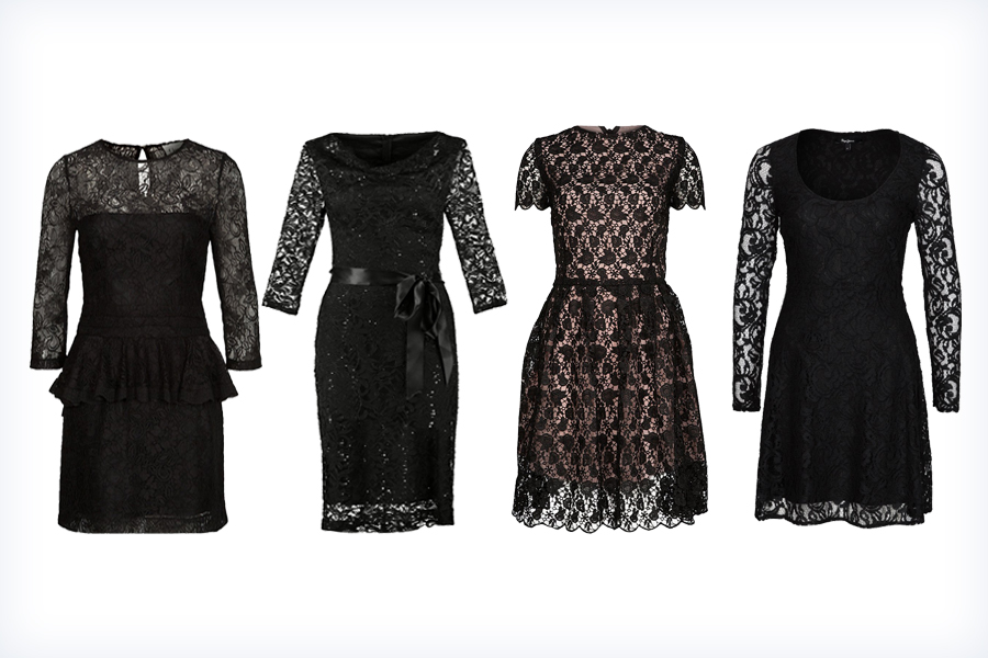 Markowe czarne sukienki koronkowe