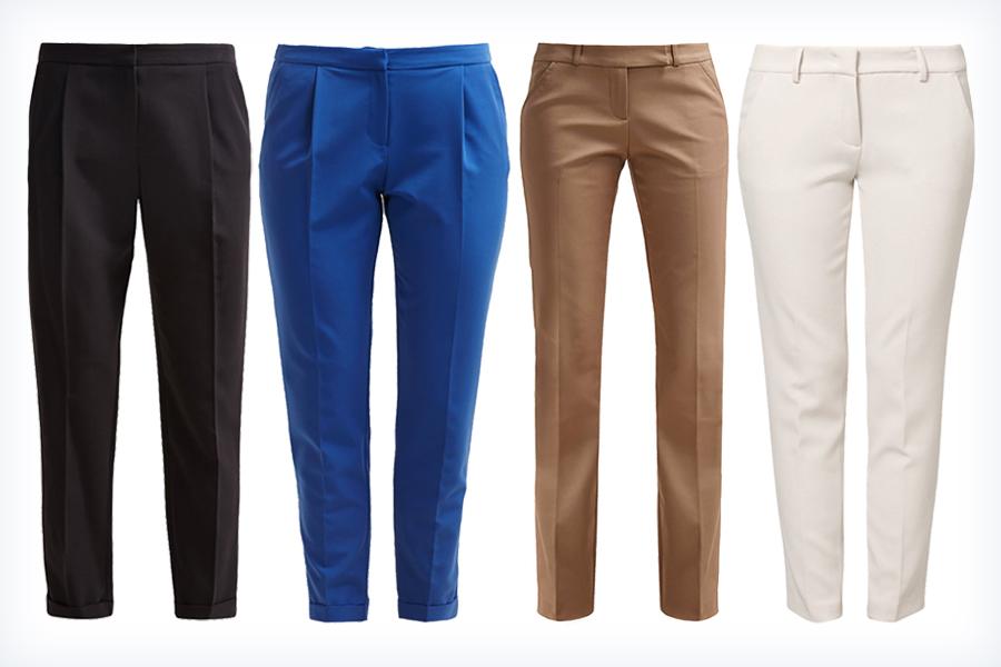 Cztery pary damskich spodni materiałowych