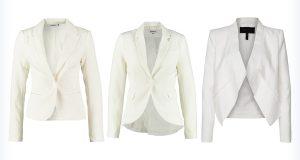 Trzy damskie białe marynarki