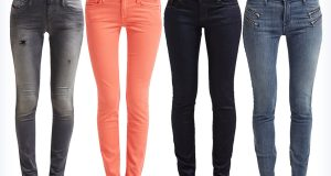 Cztery pary modnych damskich markowych jeansów