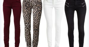Cztery pary damskich modnych jeansów