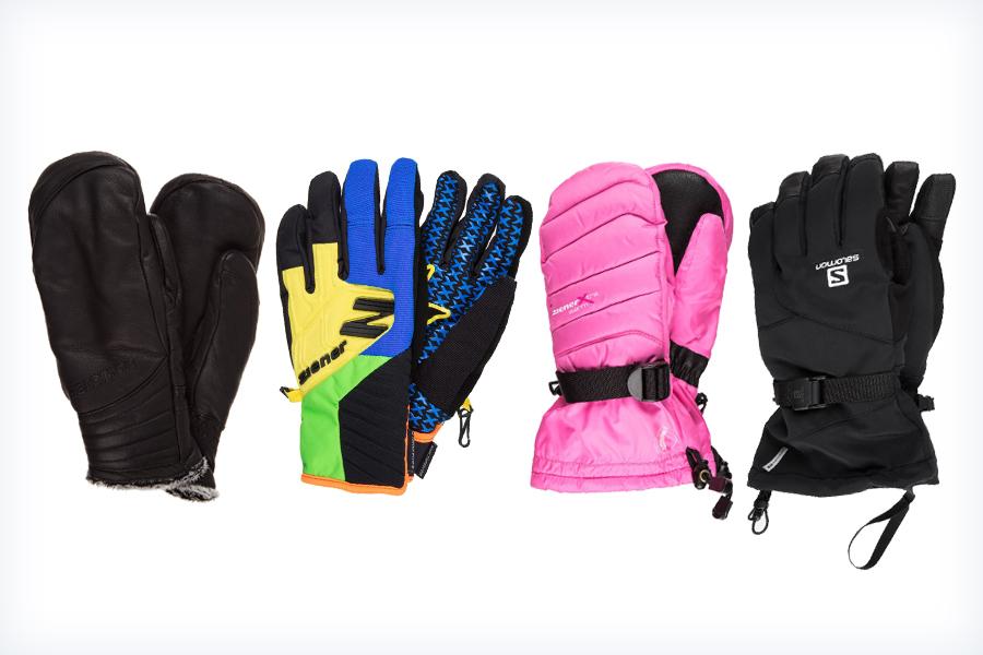 Cztery pary damskich rękawic narciarskich