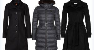 Damskie długie czarne płaszcze