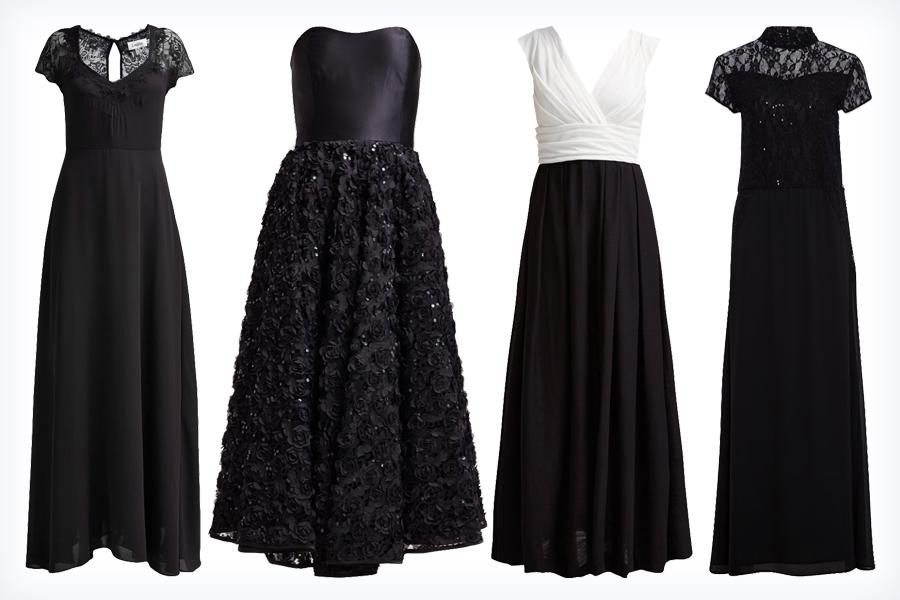 Stylowe długie czarne sukienki na studniówkę