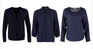 Trzy modne granatowe bluzki