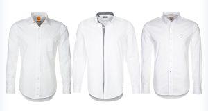 Klasyczne męskie białe koszule z długim rękawem