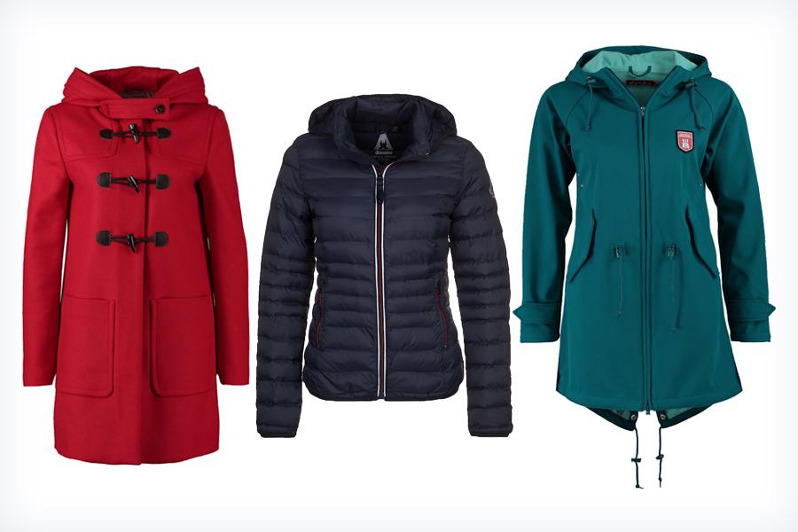 Trzy kolorowe jesienne kurtki