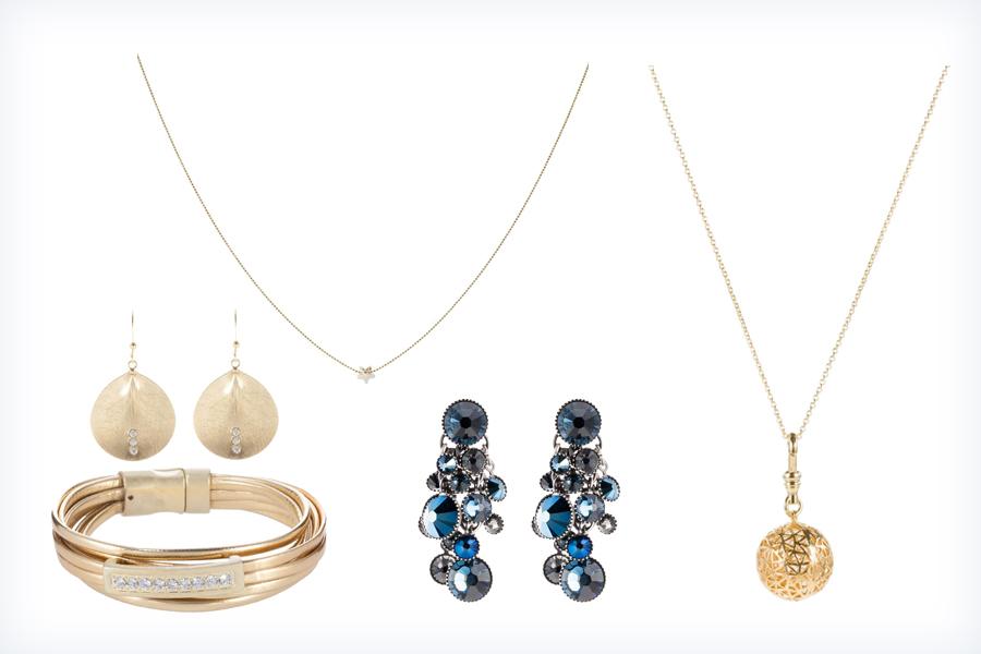 Markowa, stylowa biżuteria do niebieskiej sukienki