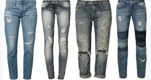 Cztery pary młodzieżowych jeansów z dziurami