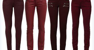 Damskie czerwone jeansy