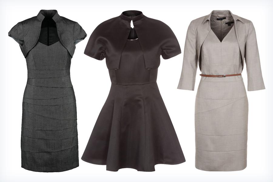 Trzy ciemne sukienki z bolerkiem