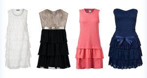 Cztery modne sukienki z falbanami