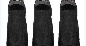 Trzy czarne sukienki z frędzlami