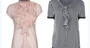 Dwie eleganckie bluzki z żabotami