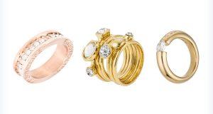 Damskie modne złote pierścionki