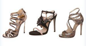 Przykładowe sandały na obcasie do długiej sukienki