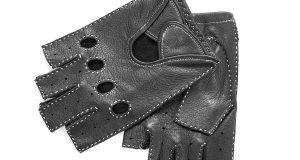 Czarne skórzane rękawiczki bez palców