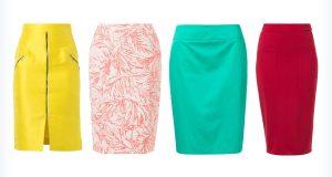 Długie, kolorowe spódnice ołówkowe