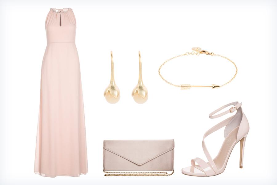 Jasna stylizacja z suknią wieczorową