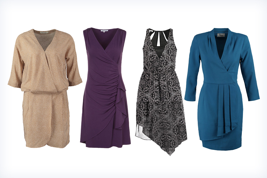 Sukienki kopertowe - brązowe, fioletowe, czarne, niebieskie