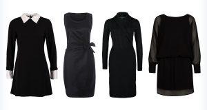 Cztery ciemne sukienki do biura