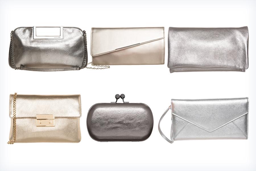 Przykładowe srebrne torebki pasujące do czerwonej sukienki