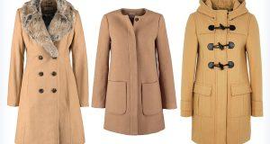 Trzy damskie brązowe płaszcze