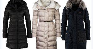 Trzy długie damskie płaszcze na zimę