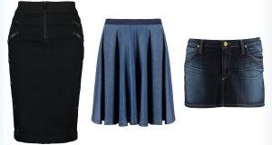 Trzy modne spódnice jeansowe