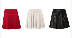 Trzy damskie spódnice trapezowe